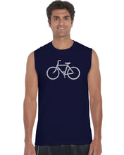 Load image into Gallery viewer, LA Pop Art Men's Word Art Sleeveless T-shirt - SAVE A PLANET, RIDE A BIKE