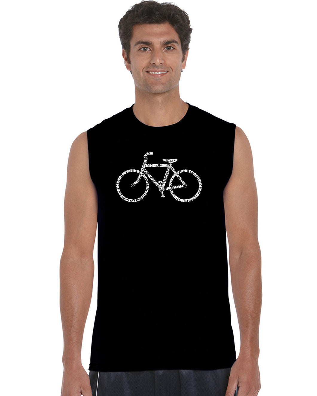 LA Pop Art Men's Word Art Sleeveless T-shirt - SAVE A PLANET, RIDE A BIKE