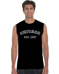 LA Pop Art Men's Word Art Sleeveless T-shirt - Chicago 1837