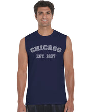 Load image into Gallery viewer, LA Pop Art Men's Word Art Sleeveless T-shirt - Chicago 1837