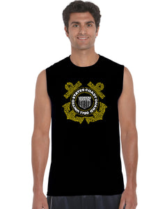 LA Pop Art Men's Word Art Sleeveless T-shirt - Coast Guard