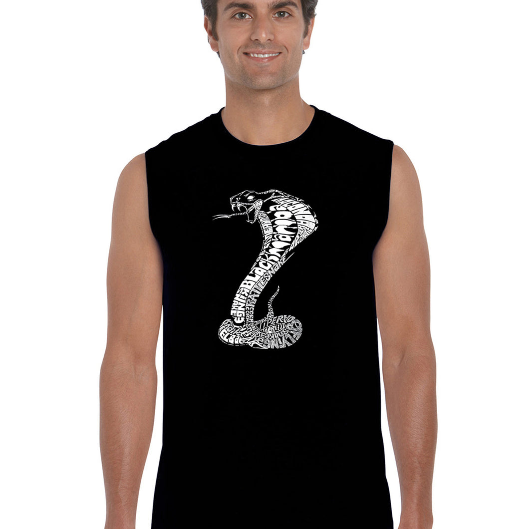 LA Pop Art  Men's Word Art Sleeveless T-shirt - Types of Snakes
