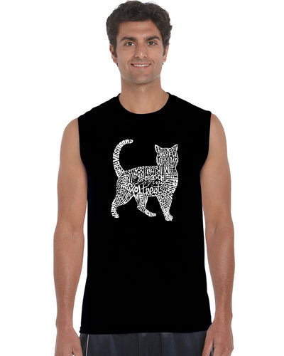 LA Pop Art Men's Word Art Sleeveless T-shirt - Cat