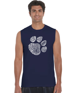 LA Pop Art  Men's Word Art Sleeveless T-shirt - Cat Paw
