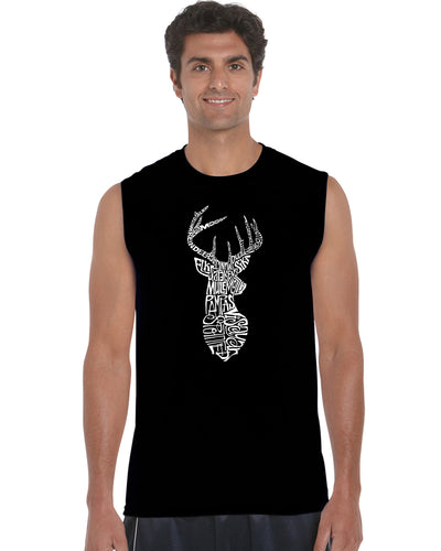 LA Pop Art Men's Word Art Sleeveless T-shirt - Types of Deer