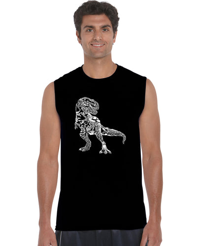 LA Pop Art Men's Word Art Sleeveless T-shirt - Dino Pics