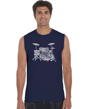 Load image into Gallery viewer, LA Pop Art Men's Word Art Sleeveless T-shirt - Drums
