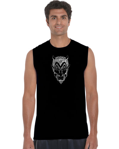 LA Pop Art Men's Word Art Sleeveless T-shirt - THE DEVIL'S NAMES