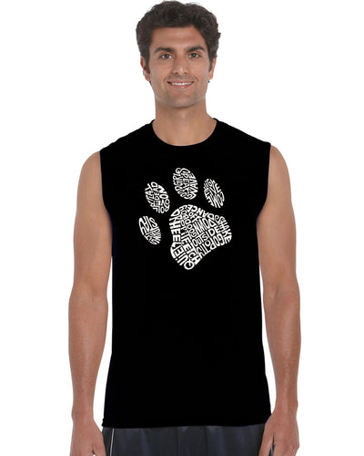LA Pop Art Men's Word Art Sleeveless T-shirt - Dog Paw
