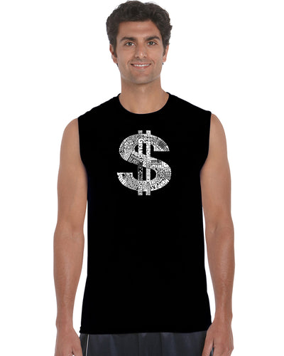 LA Pop Art Men's Word Art Sleeveless T-shirt - Dollar Sign