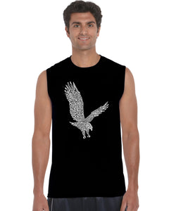 LA Pop Art Men's Word Art Sleeveless T-shirt - Eagle