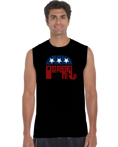 LA Pop Art Men's Word Art Sleeveless T-shirt - REPUBLICAN - GRAND OLD PARTY