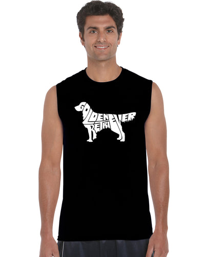 LA Pop Art  Men's Word Art Sleeveless T-shirt - Golden Retreiver