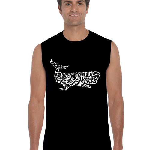 LA Pop Art  Men's Word Art Sleeveless T-shirt - Humpback Whale