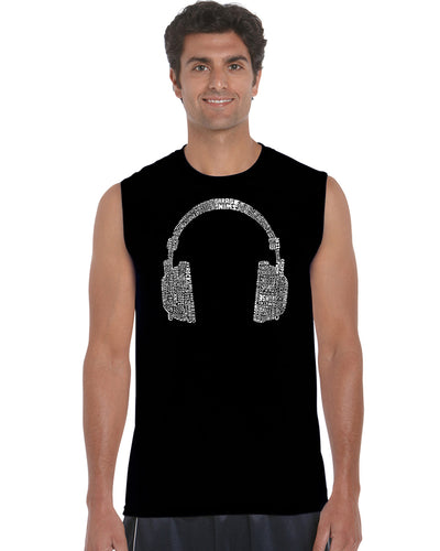 LA Pop Art Men's Word Art Sleeveless T-shirt - 63 DIFFERENT GENRES OF MUSIC