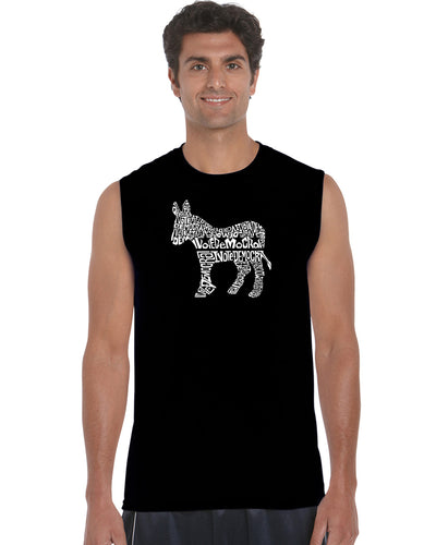 LA Pop Art Men's Word Art Sleeveless T-shirt - I Vote Democrat