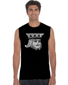 LA Pop Art Men's Word Art Sleeveless T-shirt - King of Spades
