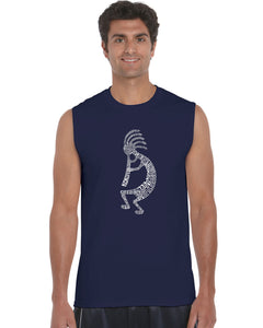 LA Pop Art Men's Word Art Sleeveless T-shirt - Kokopelli