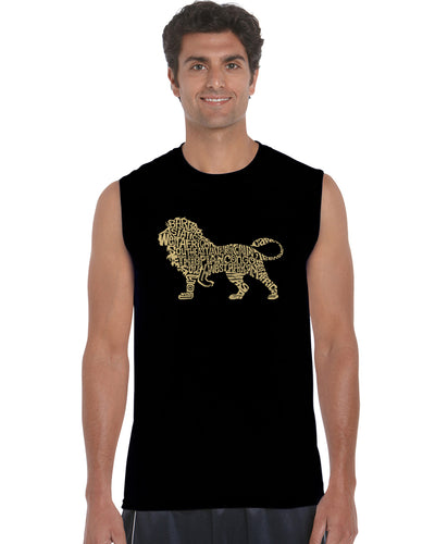 LA Pop Art Men's Word Art Sleeveless T-shirt - Lion