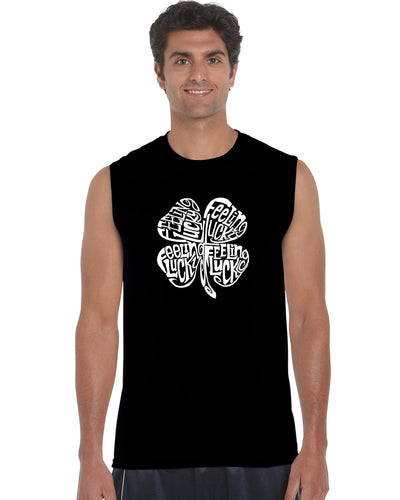 LA Pop Art Men's Word Art Sleeveless T-shirt - Feeling Lucky