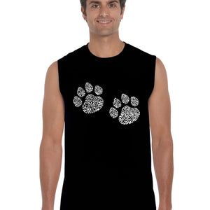LA Pop Art  Men's Word Art Sleeveless T-shirt - Meow Cat Prints
