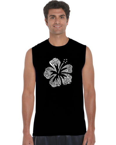 LA Pop Art Men's Word Art Sleeveless T-shirt - Mahalo