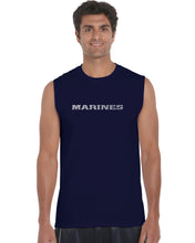 Load image into Gallery viewer, LA Pop Art Men's Word Art Sleeveless T-shirt - LYRICS TO THE MARINES HYMN