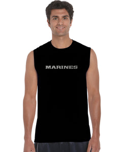 LA Pop Art Men's Word Art Sleeveless T-shirt - LYRICS TO THE MARINES HYMN