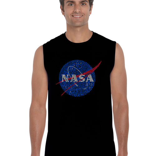 LA Pop Art  Men's Word Art Sleeveless T-shirt - NASA's Most Notable Missions
