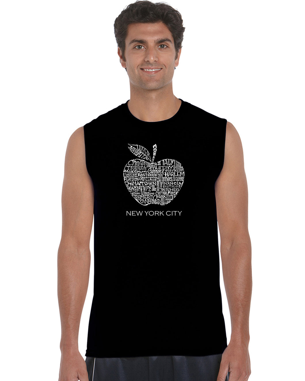 LA Pop Art Men's Word Art Sleeveless T-shirt - Neighborhoods in NYC