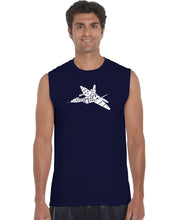 Load image into Gallery viewer, LA Pop Art Men's Word Art Sleeveless T-shirt - FIGHTER JET - NEED FOR SPEED