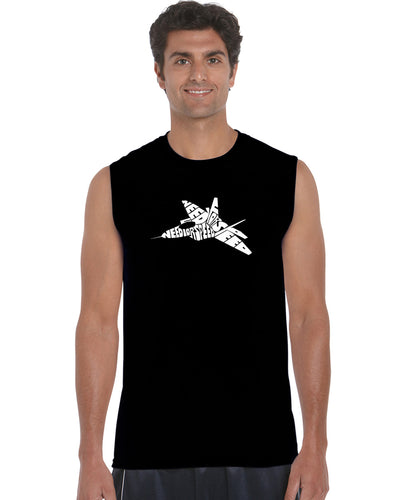 LA Pop Art Men's Word Art Sleeveless T-shirt - FIGHTER JET - NEED FOR SPEED