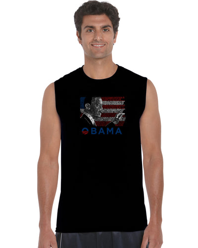 LA Pop Art Men's Word Art Sleeveless T-shirt - BARACK OBAMA - ALL LYRICS TO AMERICA THE BEAUTIFUL