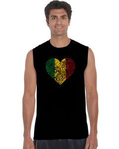 LA Pop Art  Men's Word Art Sleeveless T-shirt - One Love Heart