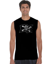 Load image into Gallery viewer, LA Pop Art Men's Word Art Sleeveless T-shirt - FAMOUS PIRATE CAPTAINS AND SHIPS