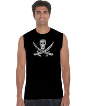 Load image into Gallery viewer, LA Pop Art Men's Word Art Sleeveless T-shirt - PIRATE CAPTAINS, SHIPS AND IMAGERY