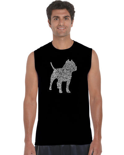 LA Pop Art  Men's Word Art Sleeveless T-shirt - Pitbull