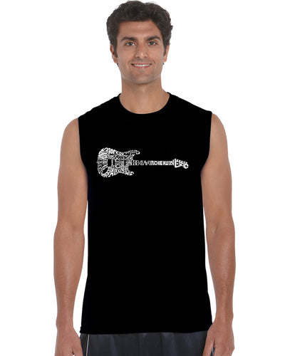 LA Pop Art  Men's Word Art Sleeveless T-shirt - Rock Guitar