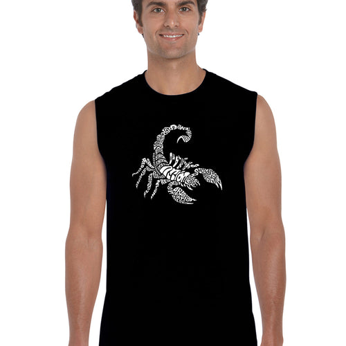 LA Pop Art  Men's Word Art Sleeveless T-shirt - Types of Scorpions