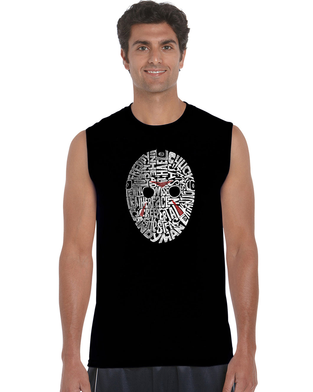 LA Pop Art Men's Word Art Sleeveless T-shirt - Slasher Movie Villians