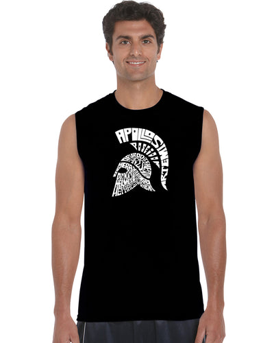 LA Pop Art Men's Word Art Sleeveless T-shirt - SPARTAN