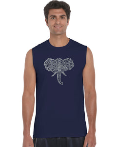 LA Pop Art Men's Word Art Sleeveless T-shirt - Tusks