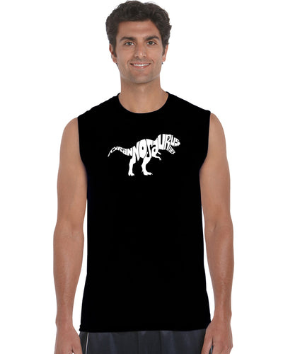 LA Pop Art Men's Word Art Sleeveless T-shirt - TYRANNOSAURUS REX