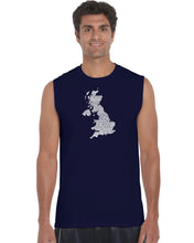 Load image into Gallery viewer, LA Pop Art Men's Word Art Sleeveless T-shirt - GOD SAVE THE QUEEN