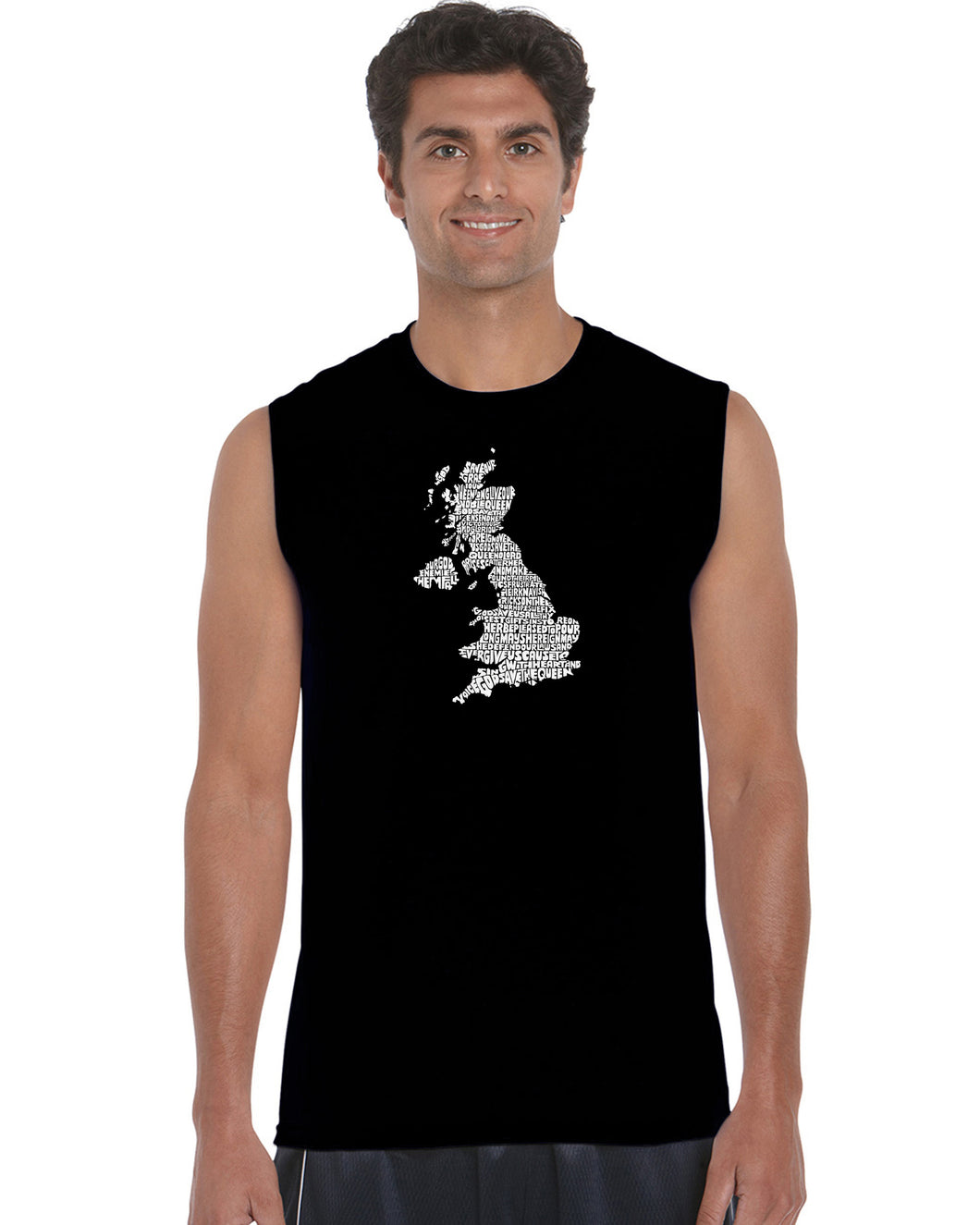 LA Pop Art Men's Word Art Sleeveless T-shirt - GOD SAVE THE QUEEN