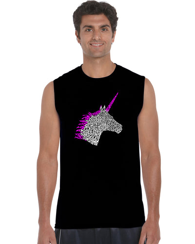 LA Pop Art Men's Word Art Sleeveless T-shirt - Unicorn