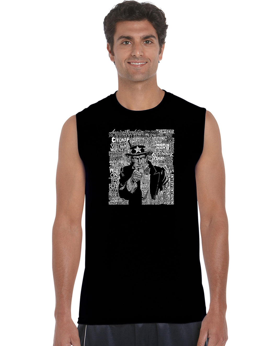 LA Pop Art Men's Word Art Sleeveless T-shirt - UNCLE SAM