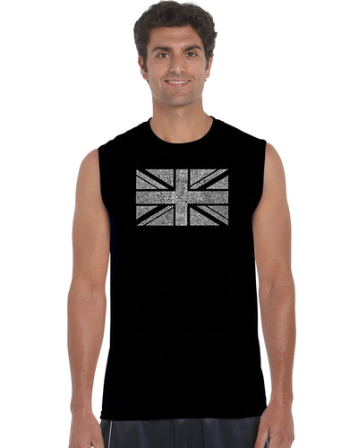 LA Pop Art Men's Word Art Sleeveless T-shirt - UNION JACK