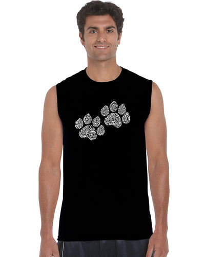 LA Pop Art  Men's Word Art Sleeveless T-shirt - Woof Paw Prints