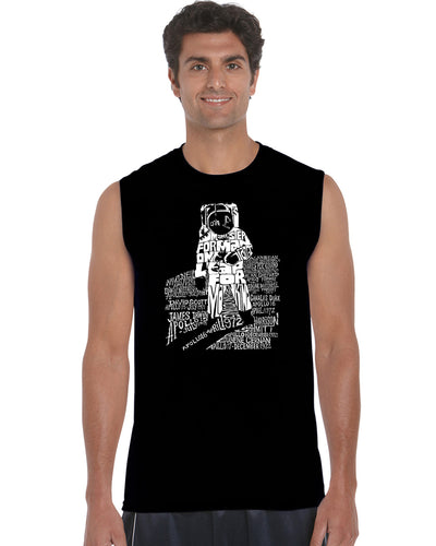 LA Pop Art Men's Word Art Sleeveless T-shirt - ASTRONAUT